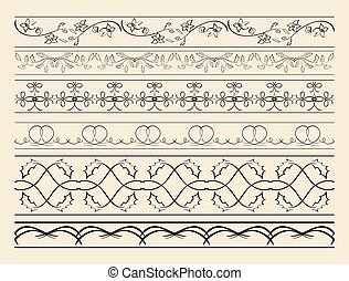 floral and curved ornamental borders - set of vector decorations