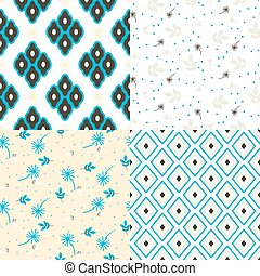 Floral and geometry seamless vector pattern set.