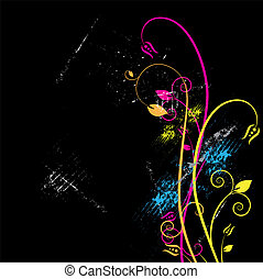 floral and grunge background