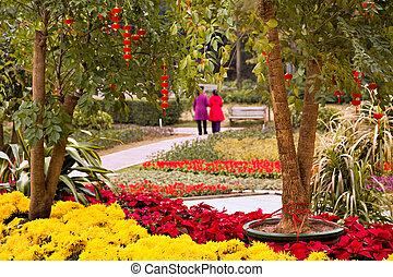 Floral and lantern decoration in garden
