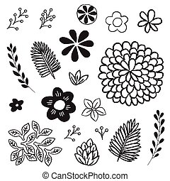 Floral and Leaf Elements Set