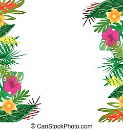 Floral and leaves of summer, with copy space background.