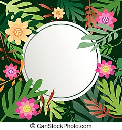 Floral and leaves with copy space background.