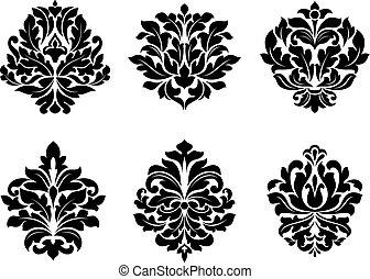floral, anders, zes, ontwerpen, arabesk
