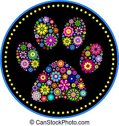 floral animal paw print - vector illustration of floral...