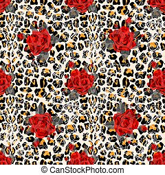 Floral animal seamless vector design print. Leopard texture ...