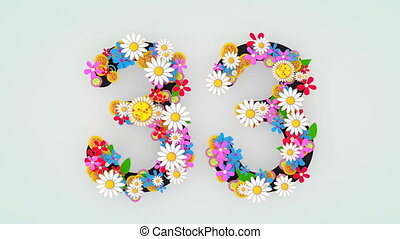 """floral, animation, 33."""", """"numerical, chiffre"""