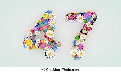 """floral, animation, 47."""", """"numerical, chiffre"""