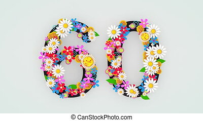 """floral, animation, 60."""", """"numerical, chiffre"""