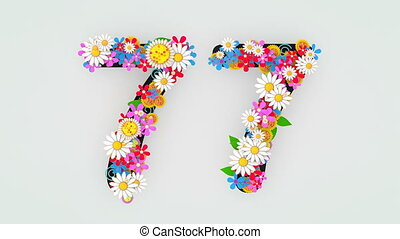 """floral, animation, 77."""", """"numerical, chiffre"""