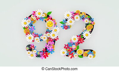 """floral, animation, 92."""", """"numerical, chiffre"""