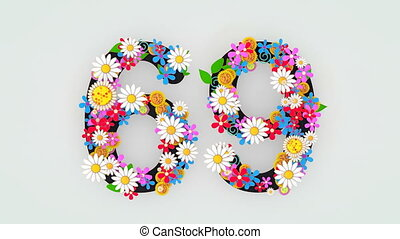 """floral, animation, """"numerical, chiffre, 69."""""""