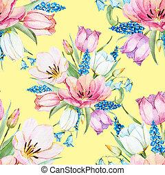 floral, apacible, patrón, primavera, raster