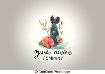 floral, aquarela, cacto, logotipo