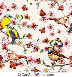floral, aquarela, seamless, textura