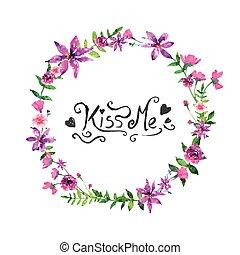floral, aquarelle, elelements, vecteur