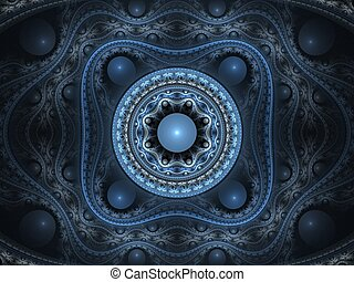 Abstract fractal background. Computer generated graphics. 3D blue arabesque.