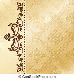 Elegant satiny floral arabesque background. Graphics are grouped and in several layers for easy editing. The file can be scaled to any size.