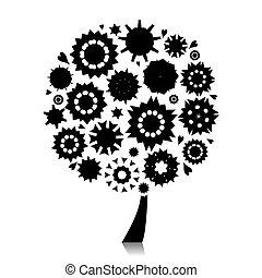 floral, arbre, conception, silhouette, ton