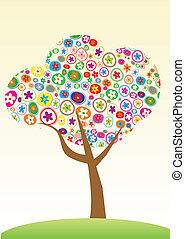 floral, arbre