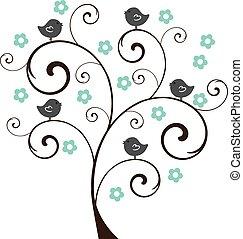 floral, arbre, oiseaux