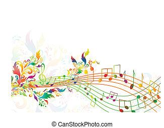 floral, arco irirs, notas, brillante, multicolor