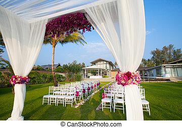 wedding ceremony - Floral arrangement at a wedding ceremony
