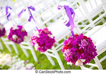 Floral arrangement at a wedding ceremony