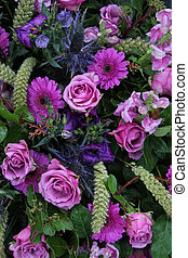 Floral arrangement in different shades of purple