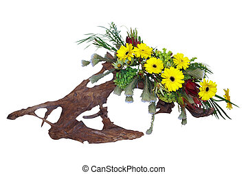 Floral Arrangement on Driftwood