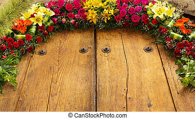 Floral Arrangement On Wood