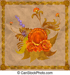 Floral arrangement with a frame of leaves on the background of old paper. eps10