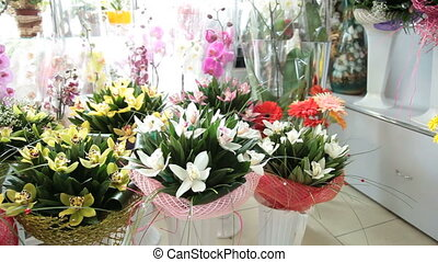 Floral arrangements and bouquets in flower shop