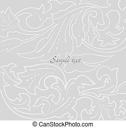 floral, arrière-plan., papier peint, gris, vecteur