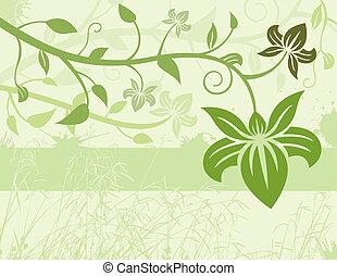 floral, arrière-plan vert