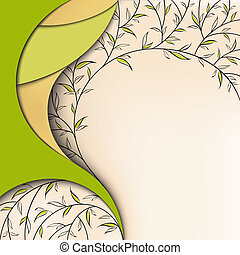 floral, arrière-plan vert, nature