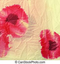 floral, arrugado, tela, rojo, amapolas