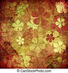 floral,  art,  grunge, fond, vendange