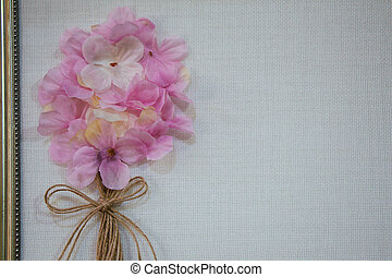 Floral art made of artificial flowers in view