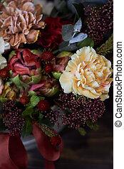 floral, automne, vendange, foyer, osier, vue, sommet, panier, arrangement, style, sélectif