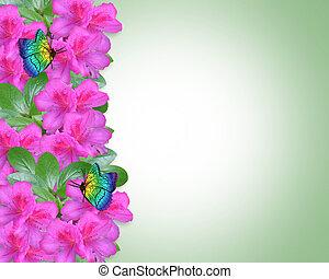 Floral Azaleas Invitation Border - Image and Illustration...