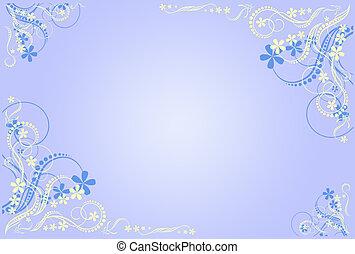floral, azul, marco, artístico