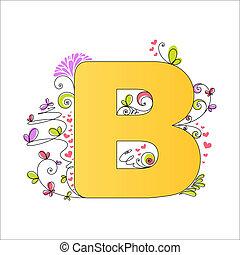 floral, b, alphabet., coloré, lettre