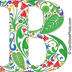 Floral B - Colorful floral initial capital letter B