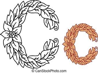 floral, b, fonte, letra, foliate