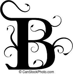 floral, b, lettre