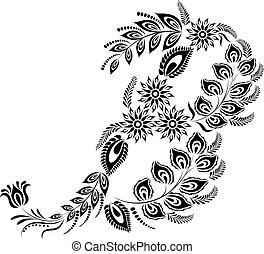 floral, b, majuscule, lettre, monogram