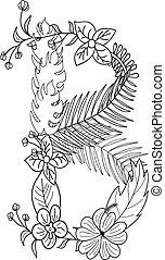 floral, b, ornement, lettre