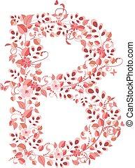 floral, b, romantique, lettre