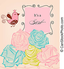 Floral baby girl shower, roses and cute bird
